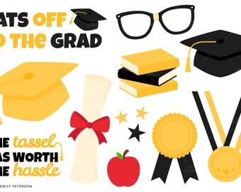 Graduation, School, Diploma - Cute Clipart, Clip Art - Commercial Use, Instant Download | V2