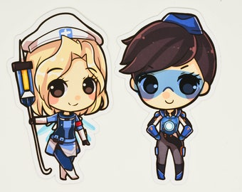 Mercy and Tracer Uprising skin! Overwatch Stickers and Magnet