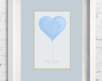 Baby Boy Blue, A4 Print, Heart Balloon, Customised Sketched Print, Unframed, Personalised, Newborn Baby Gift