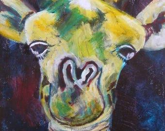 Nursery giraffe art print, giraffe gift, nursery art, cute giraffe, giraffe wall art, giraffe decor, wild animal art, safari animal art