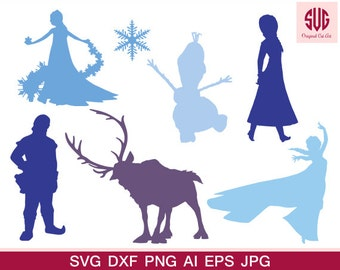 Frozen Disney Silhouettes, Silhouette files, SVG files, png jpg eps, instant download-Frozen-Anna-Elsa-Disney Princess svg