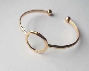 Circle Bracelet | Circle Cuff Bracelet | Gold/Silver Circle Bracelet | Minimalist Bracelet | Geometric Bracelet | Adjustable Bracelet