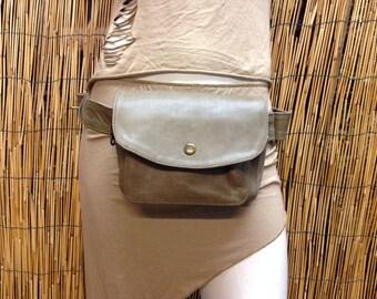Fanny Pack hip shoulder Hip Bag Handbag travel bag of fur leather / olive green / strap / hand made / Unisex