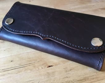 Western Tip, USA Handmade, Leather, Wallet, Snap Close, Androgynous, Womens, Mens, Mother's Day