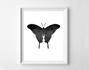 Butterfly, geometric  butterfly, black geometric butterfly,  butterfly printable, kids room decor, nursery print digital file