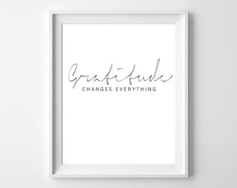 Gratitude changes everything, gratitude print, gratitude poster, thankful print, be thankful, typography, motivation quote,  printable quote