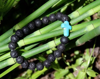 Lava bead diffuser bracelet with cross or single bead