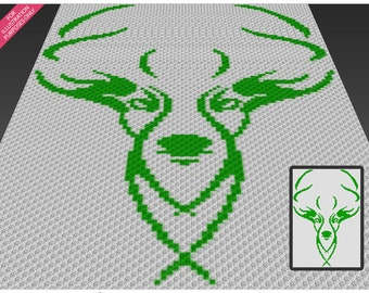 Stag Silhouette crochet blanket pattern; c2c, cross stitch; knitting; graph; pdf download; no written counts or row-by-row instructions