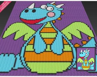 Playful Dragon crochet blanket pattern; c2c, cross stitch; knitting; graph; pdf download; no written counts or row-by-row instructions