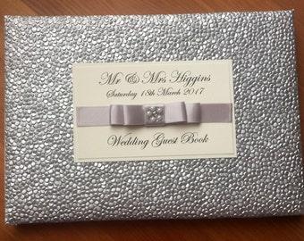 Personalised Silver Wedding Guest Book,Embossed,Bridal Journal,Luxury Wedding Book,Wedding Keepsake Book,Engagement,party guest book