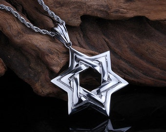 Large Necklace Top Quality Star of David Stainless Steel Pendant & Chain   SS36648