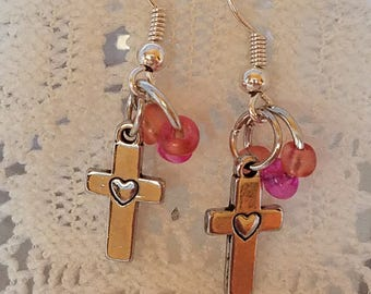 Heart cross pink bead embellishment dangle earrings