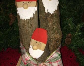 """Rustic santa set, log santas, decorative santas                                       7""""W, 13""""H, 7""""D"""