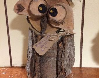 """Decorative owl, log owl, wooden owl, wood owl, rustic owl 11.5""""t,6.5""""w,4""""d  1lb 14oz"""