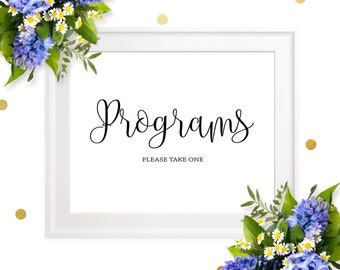 Wedding Program Sign-Ceremony Program Sign-Chic Calligraphy Wedding Day Sign-Printable Programs Please Take One Sign-Program Sign