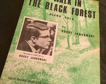 Vintage sheet music. Vintage music. A Walk in the Black Forest - Horst Jankowski - Original Piano Sheet Music 1965