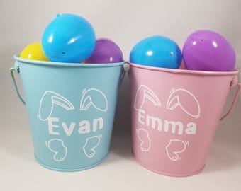 Personalized Easter Basket, Mini Easter Bucket, Easter Pail, Personalized Bucket, Easter Egg Hunt, Name Easter Bucket, Easter Bunny