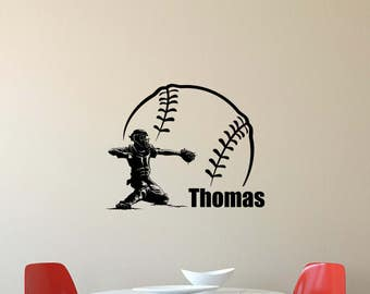 Personalized Name Baseball Wall Decal Catcher Sport Gym Vinyl Sticker Home Boy Bedroom Decor Nursery Poster