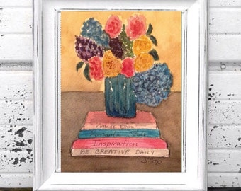 Watercolor flowers, watercolor painting, vintage look, Small Original watercolor still life. Books titled with inspiration and style