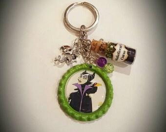Disney inspired Sleeping Beauty  Maleficent keychain