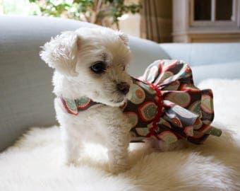 Custom Floral Print Small Dog Dress Harness- 100% Cotton Pet Dress Harness-Dog Ruffle Skirt Dress Harness