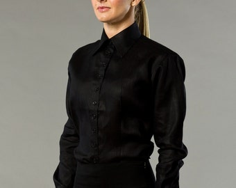 Audrey Classic Night Black - Linen Shirt
