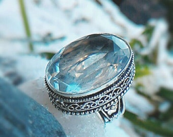 Splendid ring silver and white Topaz 925 size 55