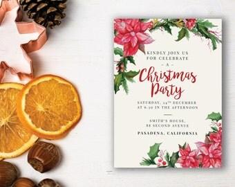 Christmas Party Invitation Template, Printable Christmas party Invitation, Printable party Invitation, Christmas Invitation,Christmas Dinner