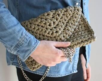 Crochet Clutch Bag, Chunky Knit Bag, Crochet Clutch Purse, Knitted Bag, Boho Clutch Bag, Festival Bag, Summer Clutch, Spring bag