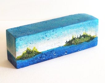 Mixed media reclaimed wood art block, abstract collage seascape or lakescape with islands, home or office decor, outdoorsy gift