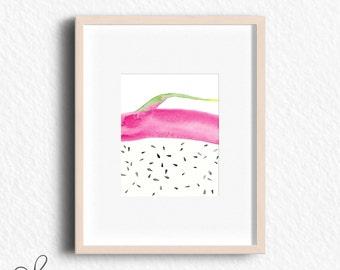 Dragon fruit print, fruit print, watercolor print, pink, art print, wall art, download, printable art, wall decor, kitchen decor, fruit art