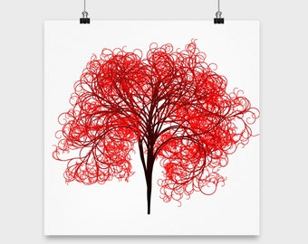 Tree Art - Bush Art - Red Tree Poster - Tree Gifts - Lined Tree Painting - Tree Art Canvas