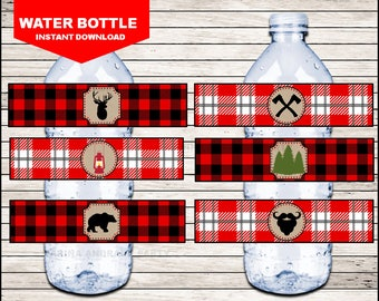 Lumberjack Water Bottle Label instant download, Lumberjack Bottle labels, Lumberjack Party water Labels
