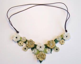 Original and romantic with varied flowers made with paper bib necklace. Two different shades.
