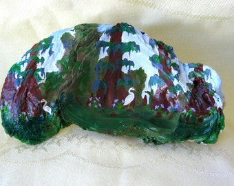 Hand painted large oyster shell swamp scene