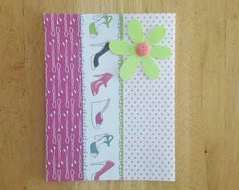 Girly Flower Horizontal Blank Card