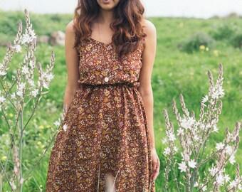 v dress\floral Dress\small Print\Summer\maxi\sillk\Unique dress\rad dress\vintage