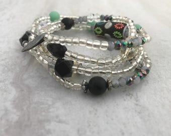 Beaded wrap bracelet, wrap bracelet, boho bracelet, layering bracelet, beaded bracelets, wrap bracelets, stretch bracelet, stretch wrap
