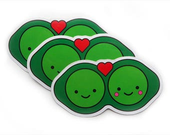 x3 Two Peas in a Pod Glossy Vinyl Stickers