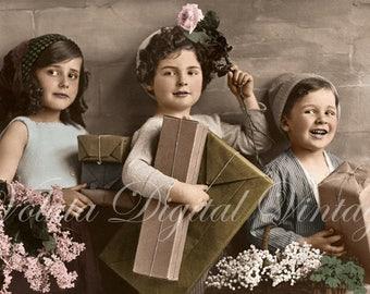 Cute kids with birthday presents. Digital download  -  Edwardian Vintage Postcard.