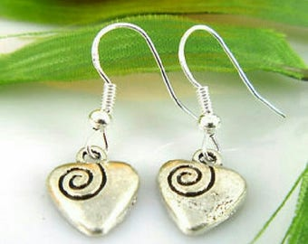 Swirling Heart Silver Earrings