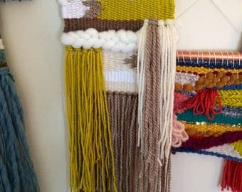 Small Brown and Citron Wall Hanging