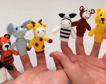 Knitted toy.Pocoyó Finger ,Marionetas de Dedo Animales de África: Mono, Jirafa, León, Hipopótamo, Cebra PANDA TIGERELEPHANT