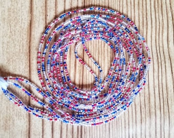 Red-White-Blue African Waist Beads