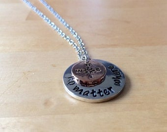 Compass No. of matter where set chain silver plated Freudschaftskette Valentine's day gift sister best friend Inn mother daughter