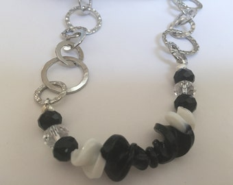 Black white and silver adjustable chain necklace