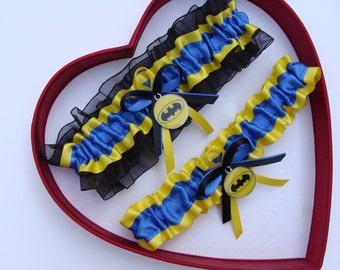 New Handmade Batman Wedding Garters Royal Blue Yellow Black Garter Prom Homecoming Dance Superhero Wedding Garter Set