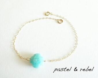 Filigree bracelet in Amazonite clover & 14 k gold filled