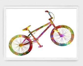 Watercolor Bike Art Print Instant Download JPG Set in 5 Sizes for 5x7 Greeting Cards & 8x10, 11x14, 16x20, 18x24 Art Prints