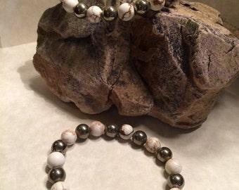 White Turquoise & Pyrite bracelet